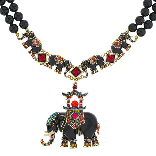 "HEIDI DAUS®""Parade of Prestige"" Enamel Beaded Crystal Elephant Necklace - Heidi Daus®"
