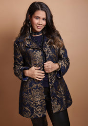 HEIDI DAUS® Nouveau Baroque Gold Medallion Brocade Topper Coat - Heidi Daus®