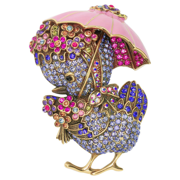 """Rainy Chick"" Crystal Floral Chick Pin"