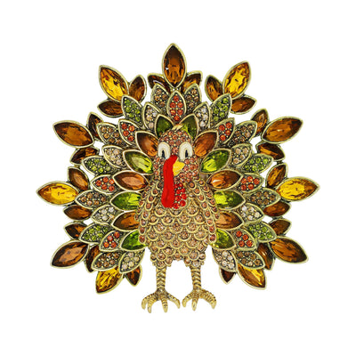 """Terry Turkey"" Enamel Crystal Turkey Pin"