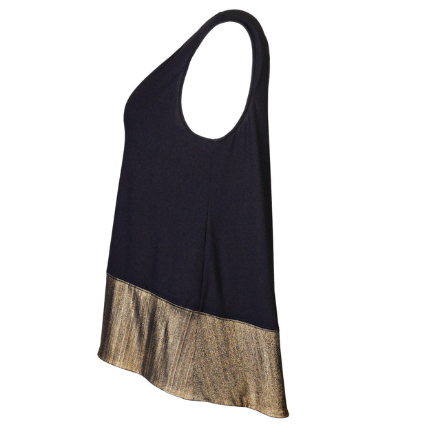 "HEIDI DAUS® ""Sleeveless Essentials"" Gold on Black High-Low Tank - Heidi Daus®"