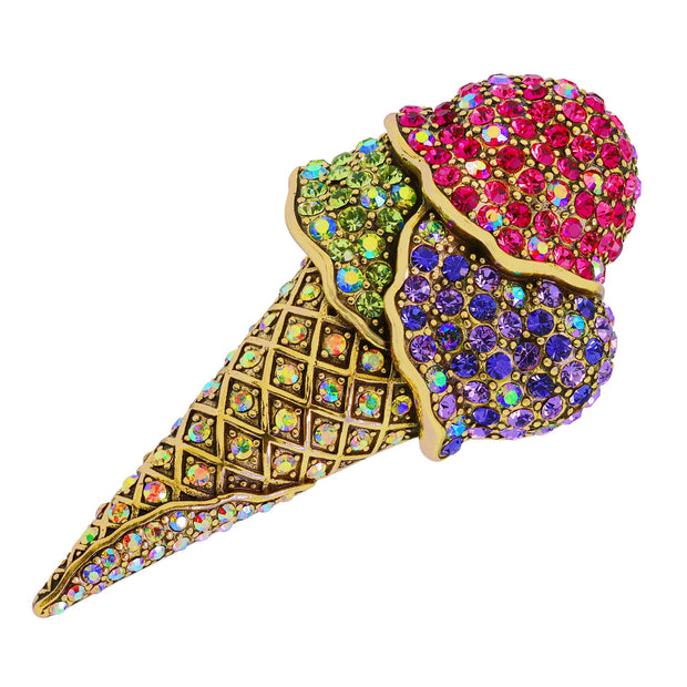 "HEIDI DAUS® ""We All Scream For Ice Cream"" Crystal Ice Cream Pin - Heidi Daus®"