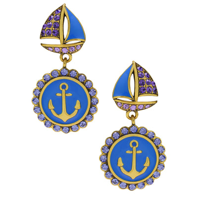 """Ships Ahoy"" Crystal & Enamel Drop Earrings"