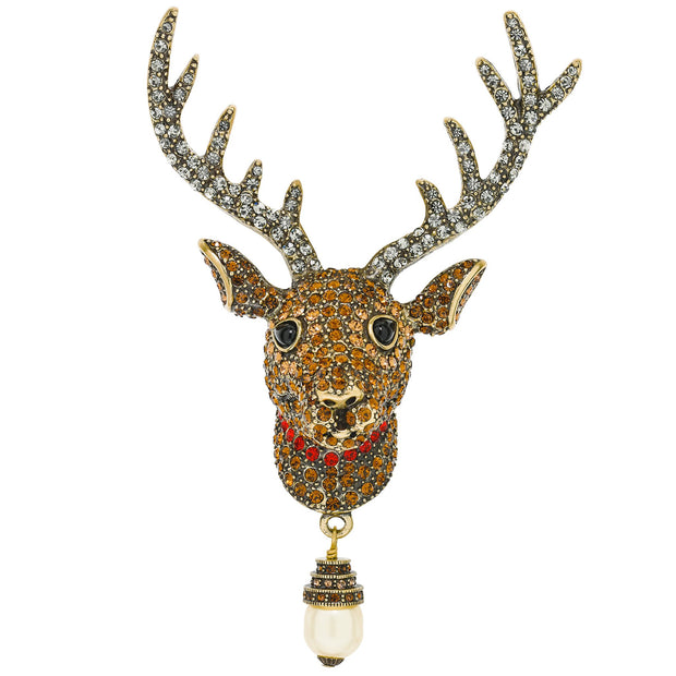 """Rudy"" Crystal and Pearl Reindeer Pin - Heidi Daus®"