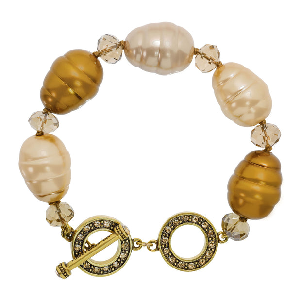 """Tailored With A Twist"" Crystal Bead Toggle Bracelet - Heidi Daus®"