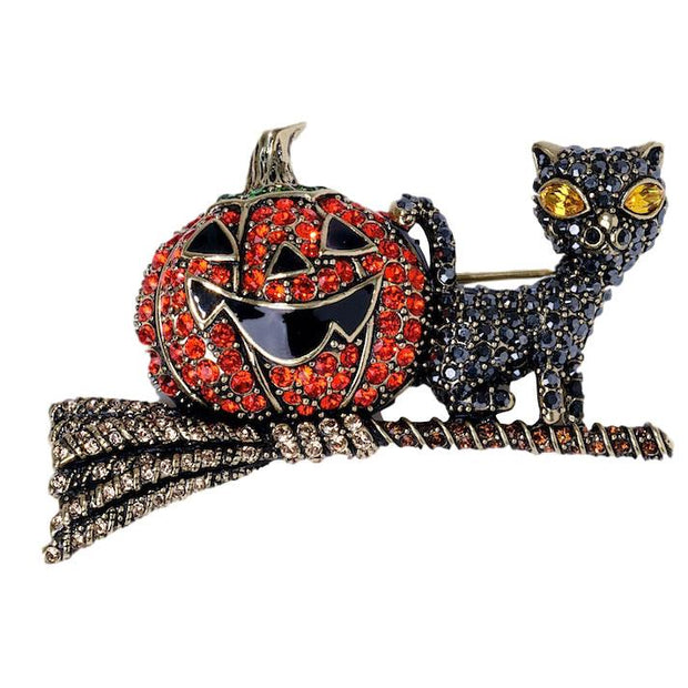 """Happy Halloween"" Crystal Cat Pin - Heidi Daus®"