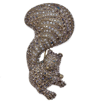 """Happy Squirrel"" Crystal Pin"