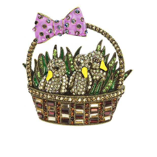 """Chicks In A Basket"" Crystal Easter Pin - Heidi Daus®"