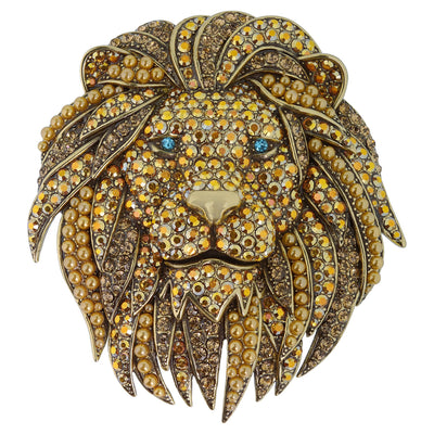 "HEIDI DAUS®""Lion Hearted"" Beaded Crystal Lion Pin - Heidi Daus®"