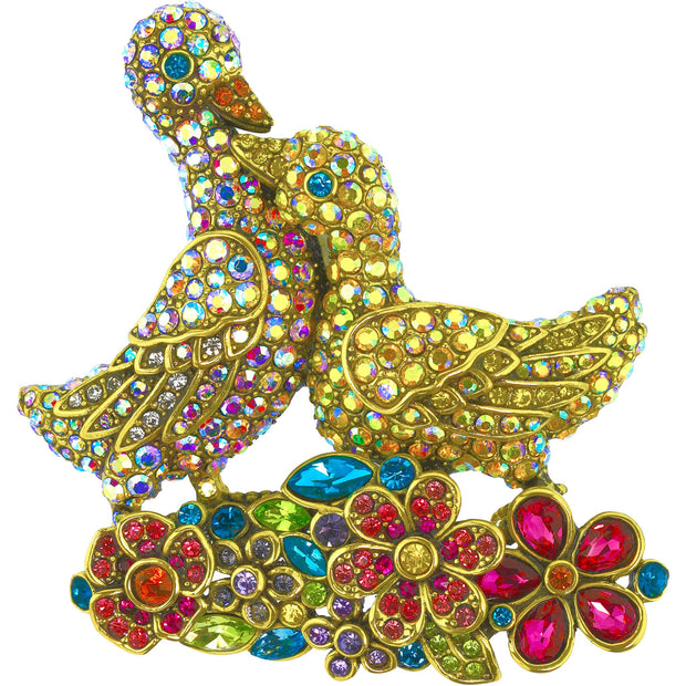 "Heidi Daus®""Lucky Ducks"" Crystal Duck Floral Pin - Heidi Daus®"