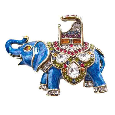 """Princess of Siam"" Enamel & Crystal Elephant Pin"
