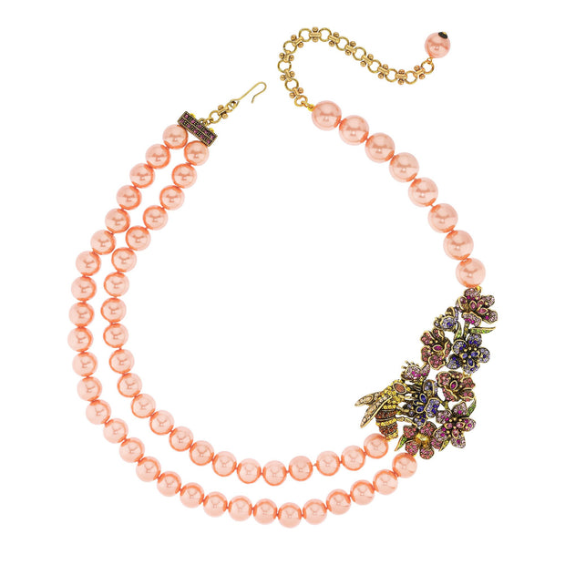 """Pretty Pollination"" Floral Crystal Beaded Necklace"