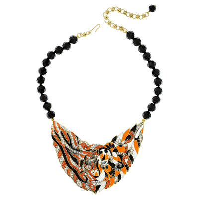 """Creative Camouflage"" Beaded Enamel Crystal Tiger Necklace"