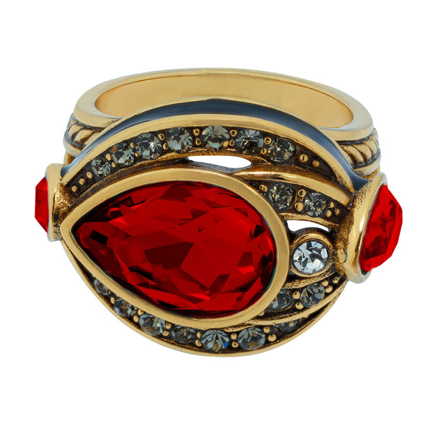 "HEIDI DAUS®""Draped in Deco"" Enamel Crystal Deco Ring - Heidi Daus®"