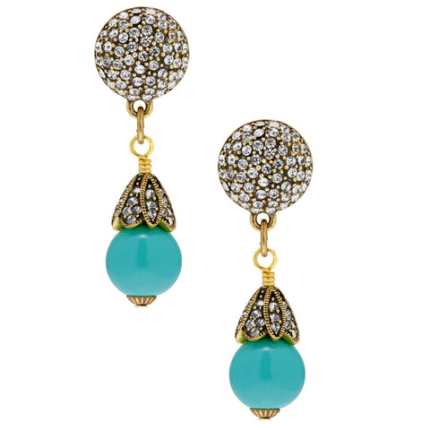 """Retro Fabulous"" Crystal & Bead Dangle Earring"