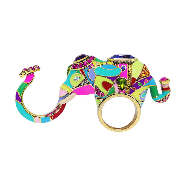 "HEIDI DAUS®""Unforgettable Expression"" Enamel Crystal Elephant Ring - Heidi Daus®"