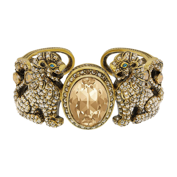 """Lion Royalty"" Crystal Lion Cuff Bracelet - Heidi Daus®"