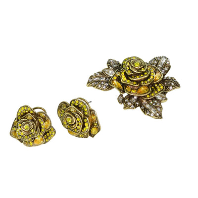 """Showered With Flowers"" Crystal Pin & Earring Set"