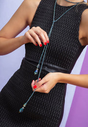 """Sleek Chic"" Beaded Crystal Lariat Necklace - Heidi Daus®"