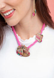 """Sweet Celebration"" Cord Crystals Pin Necklace Cake Set - Heidi Daus®"