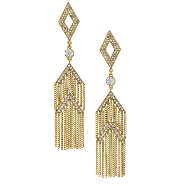 """Liquid Assets"" Crystal Deco Drop Earrings"