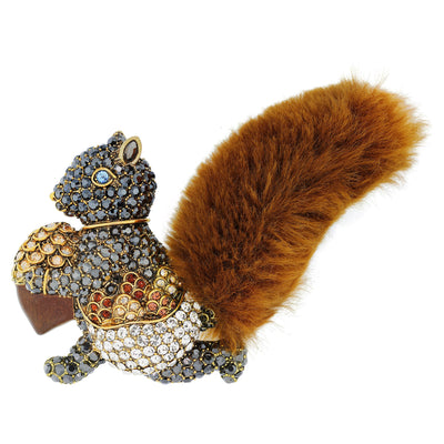 """Harvest Delivery"" Crystal Enamel Squirrel Pin"