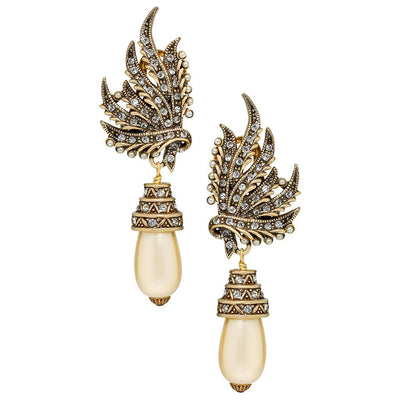"""A Touch of Class"" Pearl and Crystal Drop Earrings"