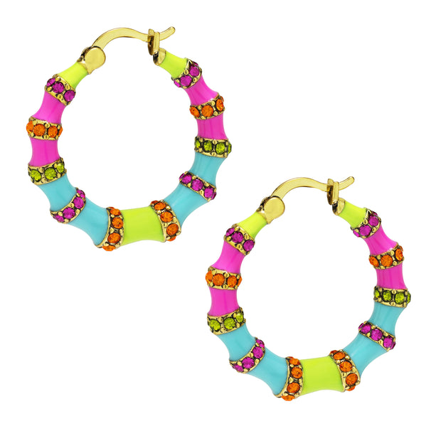 "HEIDI DAUS® ""Bandwith"" Enamel & Crystal Hoop Earrings - Heidi Daus®"