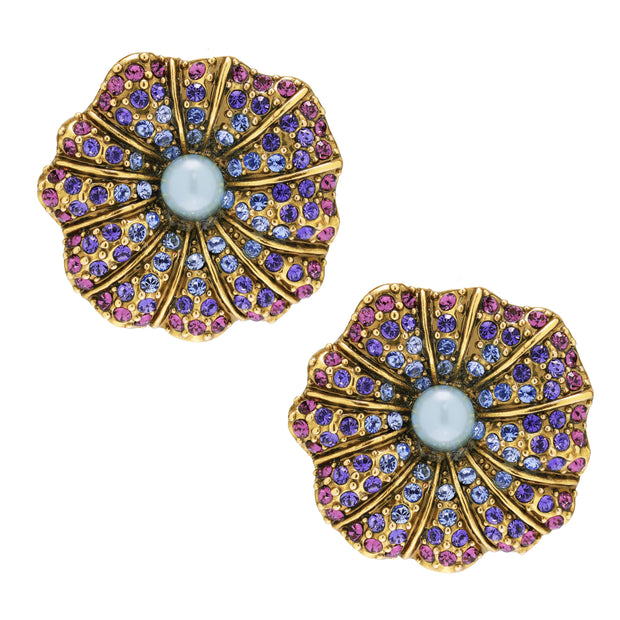 """Morning Glory"" Swarovski Floral Button Earrings - Heidi Daus®"