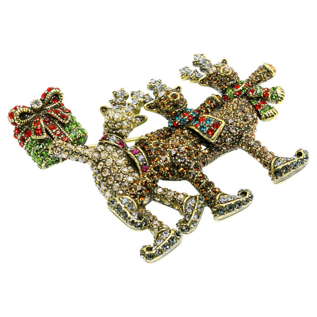 "HEIDI DAUS® ""Reindeer Games"" Crystal Holiday Pin - Heidi Daus®"