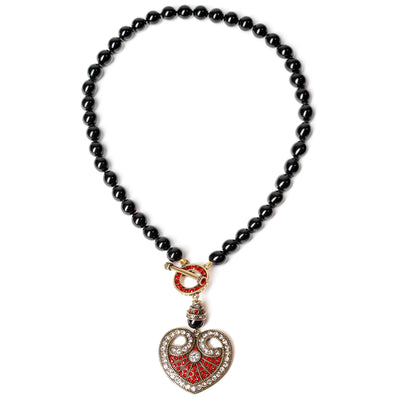 """Distinguished Opulence"" Beaded Crystal Heart Toggle Necklace - Heidi Daus®"