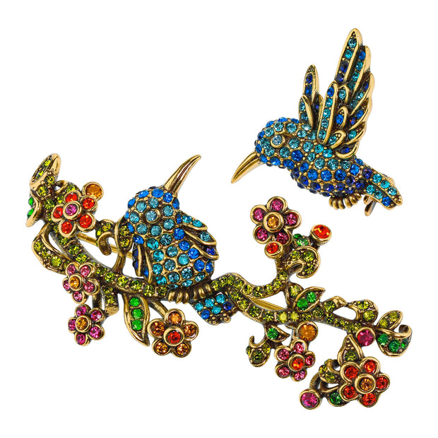 """Humming Harmony"" Crystal Bird Pin Set - Heidi Daus®"