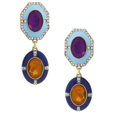 """Rule The Runway"" Crystal & Enamel Drop Earrings - Heidi Daus®"