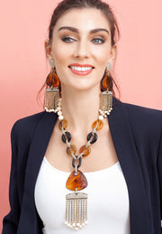 "HEIDI DAUS® ""Wedge Link"" Crystal Resin Drop Necklace - Heidi Daus®"