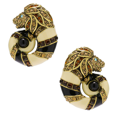 """Jungle Love"" Crystal and Enamel Button Earrings"