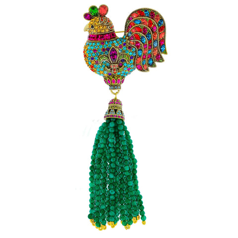 """Gallic Rooster"" Crystal Beaded Tassel Rooster Pin"