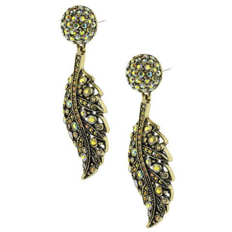 """Tickled with Brilliance"" Crystal Feather Drop Earrings"