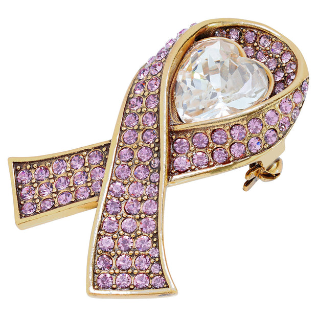 "HEIDI DAUS® ""Sparkle Strong"" Crystal Heart Ribbon Pin - Heidi Daus®"
