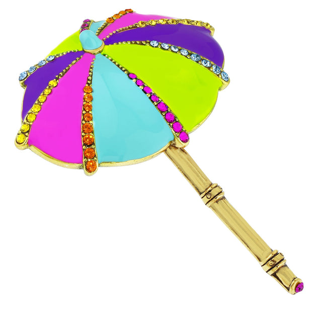 "Heidi Daus® ""Summer Shade"" Enamel Crystal Umbrella Pin - Heidi Daus®"