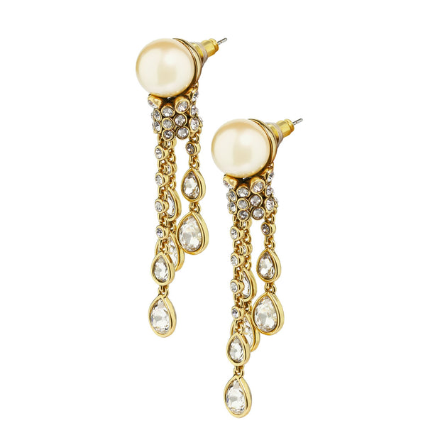 "HEIDI DAUS® ""Elegant Tear Drop"" Pearl & Crystal Drop Earrings - Heidi Daus®"