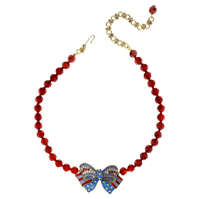 """Red White And Blue Bow"" Beaded Crystal Bow Necklace - Heidi Daus®"