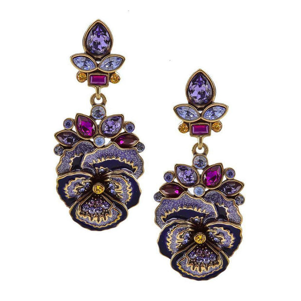"""Art Nouvelle"" Enamel Crystal Floral Drop Earrings - Heidi Daus®"