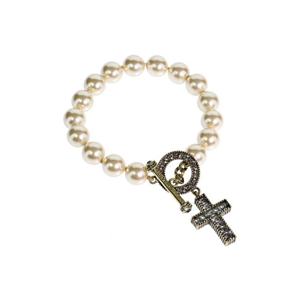 """A Cross of Crystals"" Pearl & Crystal Bracelet - Heidi Daus®"