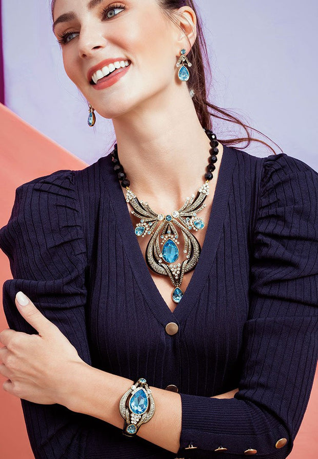 """Draped In Deco"" Enamel & Crystal Deco Necklace - Heidi Daus®"