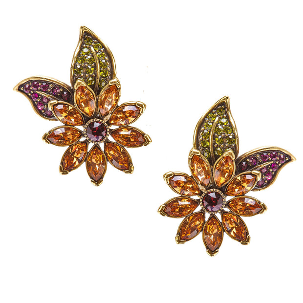 """Merci Beaucoup"" Crystal Floral Button Earrings - Heidi Daus®"