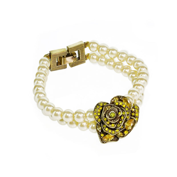 """Showered With Flowers"" Crystal Beaded Floral Bracelet"