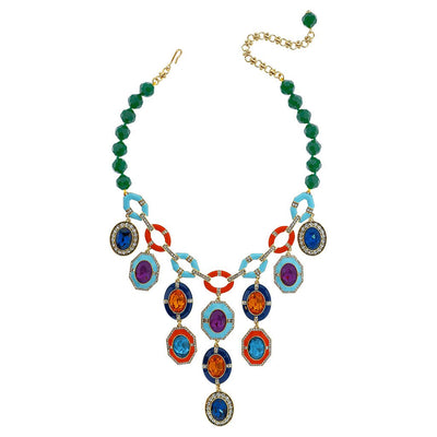 """Rule The Runway"" Beaded Enamel Crystal Deco Necklace - Heidi Daus®"