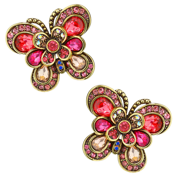 """Blushing Butterfly"" Crystal Button Earrings - Heidi Daus®"