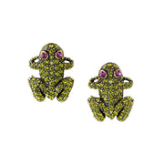 """Kissing Frogs"" Swarovski Button Earrings - Heidi Daus®"