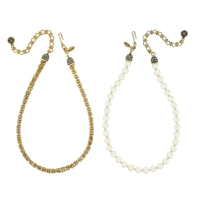 """Elegant Essentials"" Bead and Chain Necklace Set - Heidi Daus®"